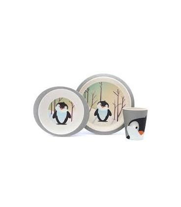 Coffret Bambou Pingouin (Assiette Plate, Assiette Creuse, Verre)