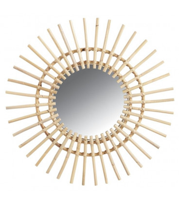 Miroir soleil en rotin naturel h gen - Miroir soleil noir ...