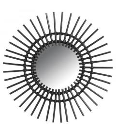 Miroir Soleil En Rotin Noir