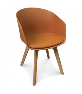 Chaise Scandinave Caramel + Coussin
