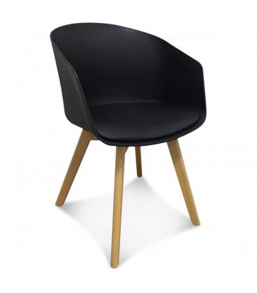 fauteuil scandinave noir coussin - Chaise Scandinave Noir