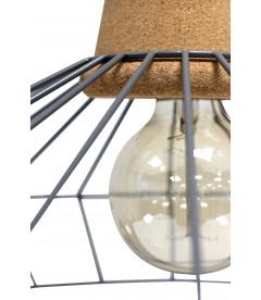 Lampe Suspendue Ingvar Gris Mat Liege & Metal, Cable Tex Carreau Gaine Noir &