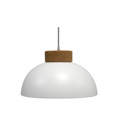 Lampe Suspendue Vermont Blanc Mat Liege & Metal, Cable Tex Carreau Gaine Noir E