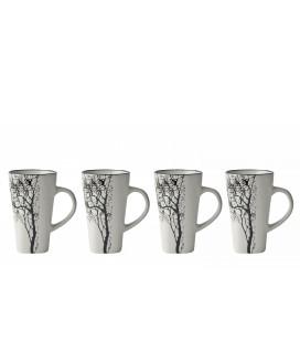 Set de 4 Tasses Expresso Blanc Motif Arbre