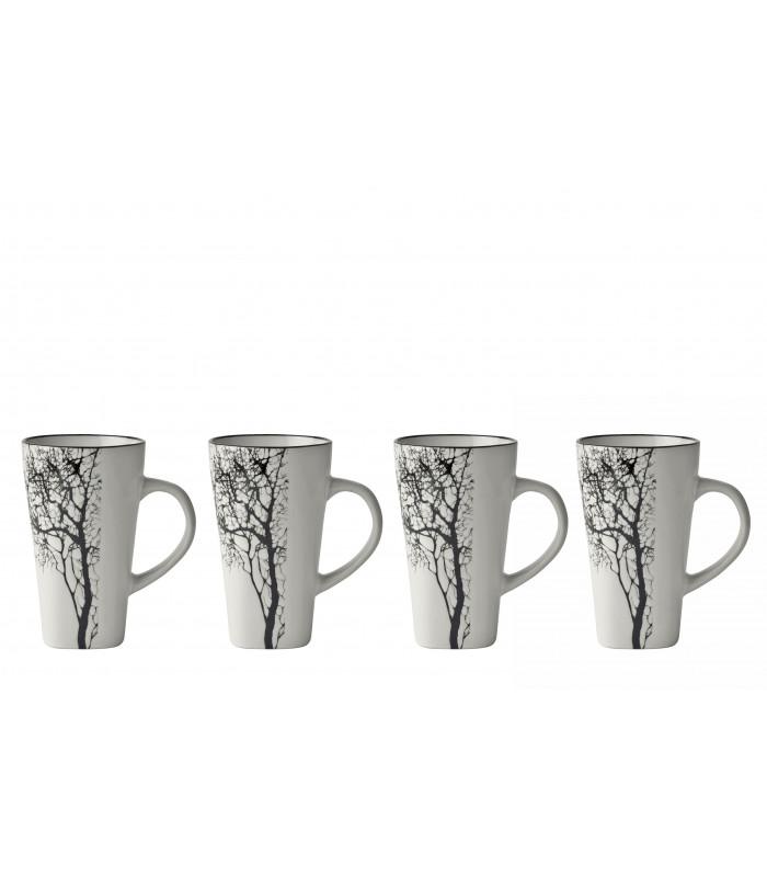 set de 4 tasses expresso blanc motif arbre h gen. Black Bedroom Furniture Sets. Home Design Ideas