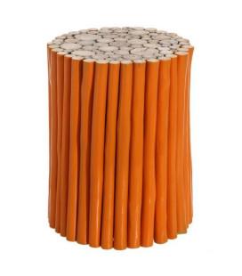 Table d'Appoint / Tabouret Teck Orange