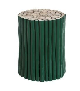 Table d'Appoint / Tabouret Teck Vert