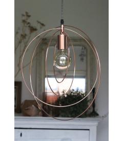 Lampe Suspendue Globus Cuivre Brosse Metal & Cable Tex Carreau Gaine Noir & Bl