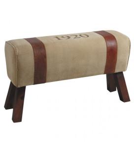 Banc 1920 Coton & Cuir 87 X 30 X 52 Cm