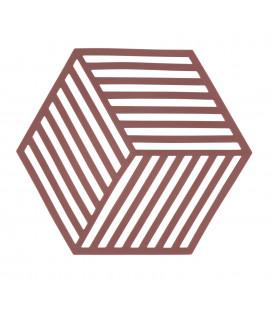 Dessous De Plat Hexagone Rouge Sienne en Silicone
