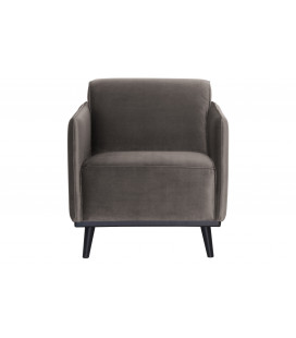 Fauteuil Statement Velours Taupe