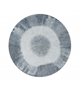 Tapis Tie-Dye Vintage Bleu Gris Ø150 cm Lavable en Machine