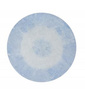 Tapis Tie-Dye Vintage Bleu Clair Ø150 cm Lavable en Machine