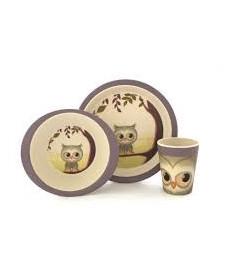 Coffret Bambou Hibou (Assiette Plate, Assiette Creuse, Verre)