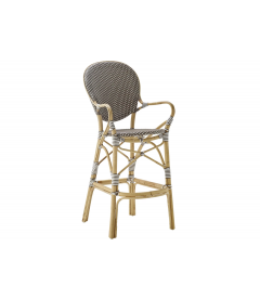 Chaise de Bar Isabelle Rotin Tressage Cappuccino Points Blanc Sika-Design