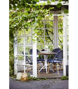 Chaise Sofie Empilable Rotin Tressage Bleu Navy Points Blancs Sika-Design