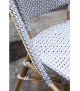 Chaise Sofie Empilable Rotin Tressage Gris Points Blancs Sika-Design