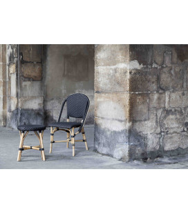 Chaise Sofie Empilable Rotin Tressage Noir Points Noirs Sika-Design