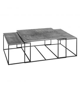 Set de 3 Tables Basses Argent et Noir