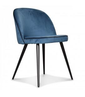 Chaise Ingrid Bleu Canard Gansé Noire
