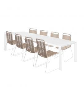 Table de Repas Alu + 8 Chaises Cord Garden Taupe/Blanc