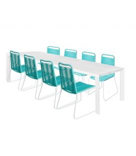 Table de Repas Alu + 8 Chaises Cord Garden Bleu/Blanc