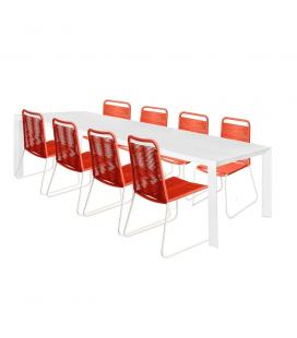 Table de Repas Alu + 8 Chaises Cord Garden Paprika/Blanc