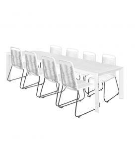 Table de Repas Alu + 8 Chaises Cord Garden Blanc/Noir