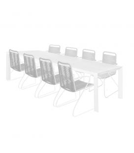 Table de Repas Alu + 8 Chaises Cord Garden Gris Clair/Blanc