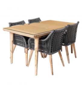 Ensemble Table Nirit Beige et ses 4 chaises Grises