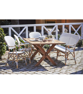 Banc Isabelle Rotin Tressage Blanc Points Cappuccino Sika-Design