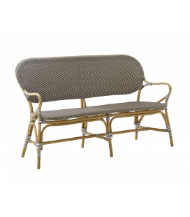 Banc Isabelle Rotin Tressage Cappuccino Points Blancs Sika-Design
