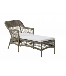 Chaise Longue Olivia Outdoor Taupe coussin écru inclus by Sika-Design