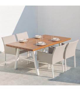 Table à Manger Saskia Aluminium/Bois