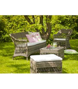 Canapé 2 Places Charlot Antique Outdoor avec Coussin Ecru