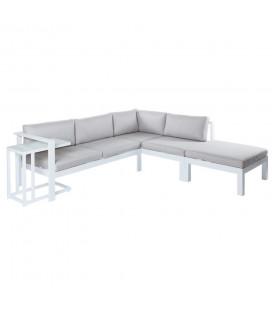 Salon d'Angle + Table d'Appoint Aluminium Agnes