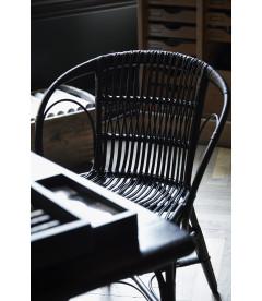 Chaise Wengler en Rotin Noir by Robert Wrengler