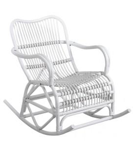 Rocking Chair en Rotin Laqué Blanc