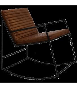 Rocking Chair Lounge Cuir Marron