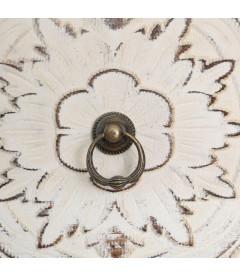 Meuble Bas Oriente Fleur Patiné Blanc