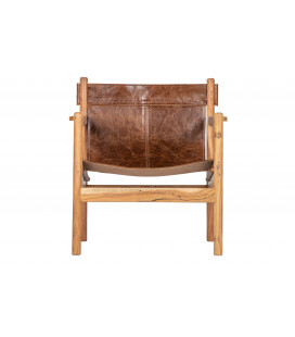 Fauteuil Bas Cuir Marron Chill Up