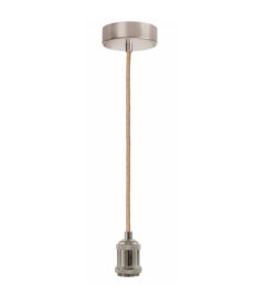 Suspension Libellule Bambou Ø65cm et Câble Corde Douille Argenté