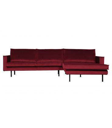Canapé Chaise Longue Rodéo Droite Velvet Rouge