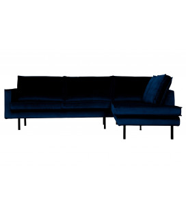 Canapé Chaise Longue Rodéo Droite Velvet Bleu Nuit
