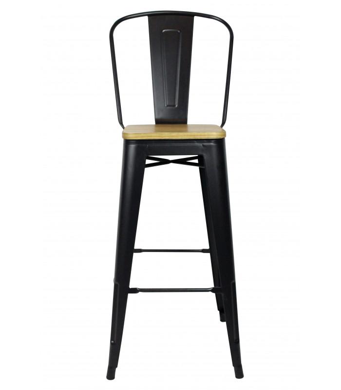 Chaise De Bar Tucker Acier Noir Mat Bois D Orme Hogen