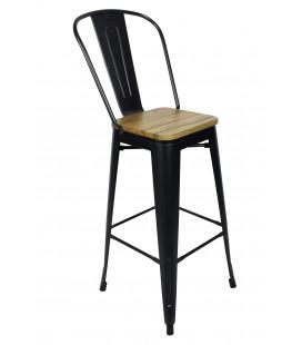 Chaise De Bar Tucker Acier Noir Mat & Bois D'orme