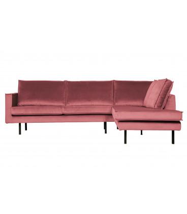 Canapé d'Angle Rodéo Droite Velvet Rose
