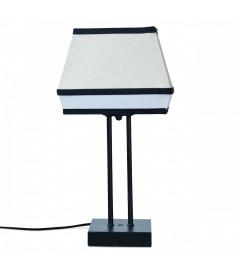 Lampe Raphia Naturel et Tissu Blanc 37 cm