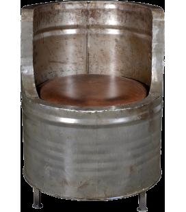 Fauteuil En Forme De Baril Metal Avec Assise En Cuir 46cm
