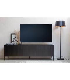 Meuble TV Gravure 180 cm Pin Massif Noir